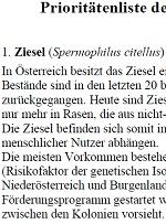 Prioritätenliste der 50 bedrohtesten Tierarten Österreichs