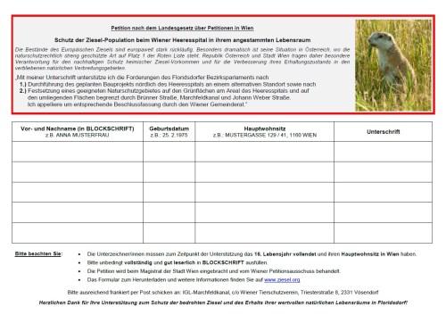 Ziesel-Petition für Naturschutzgebiet beim Heeresspital Wien