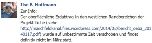 Ilse Hoffmann auf Facebook am 1. März 2014